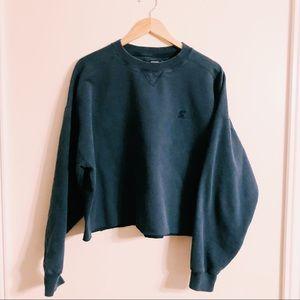 distressed cropped sweatshirt